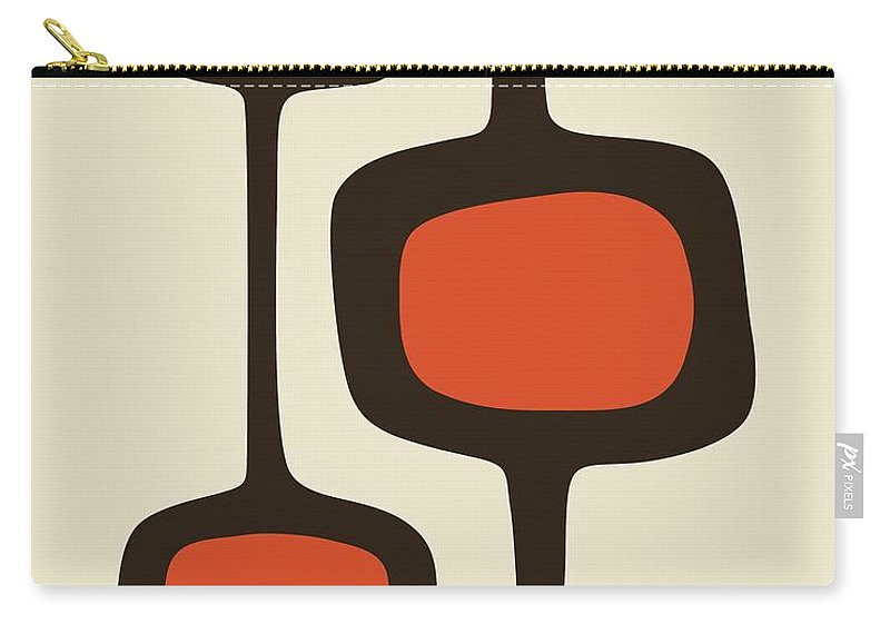 Brown Carry-all Pouch featuring the digital art Mod Pod Two Orange With Brown by Donna Mibus