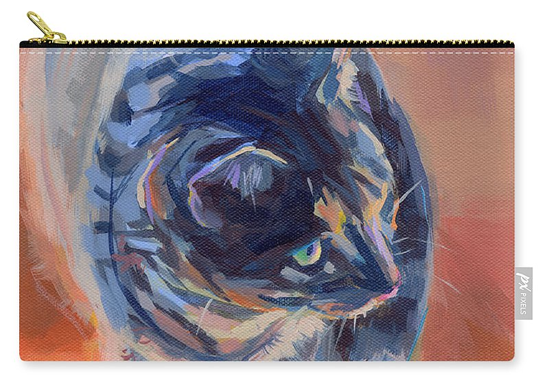 Tabby Cat Carry-all Pouch featuring the painting Mona Lisa by Kimberly Santini