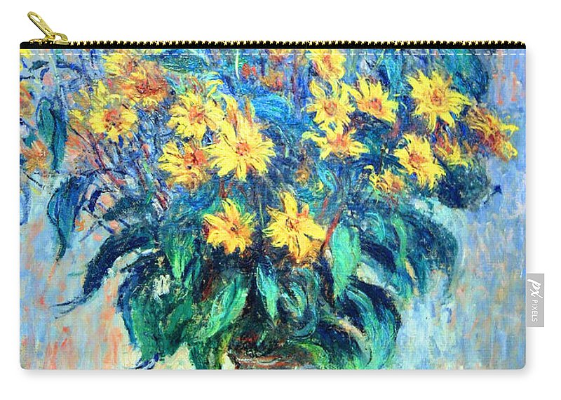 Jerusalem Artichoke Flowers Carry-all Pouch featuring the photograph Monet's Jerusalem Artichoke Flowers by Cora Wandel