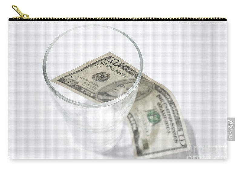 Money Carry-all Pouch featuring the photograph Money And A Glass by Mats Silvan