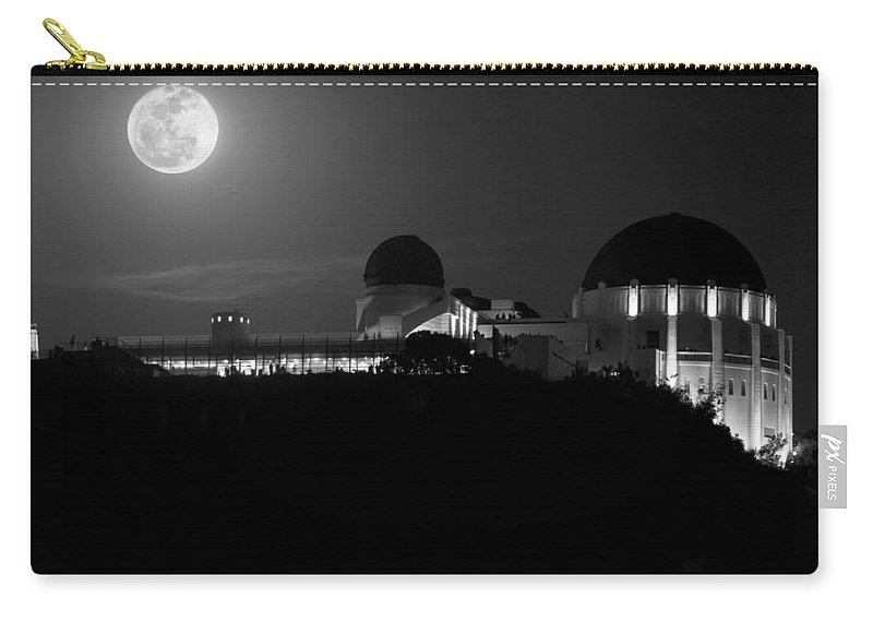 Carry-all Pouch featuring the photograph Moon Over Griffith Observatory by Mike Herdering