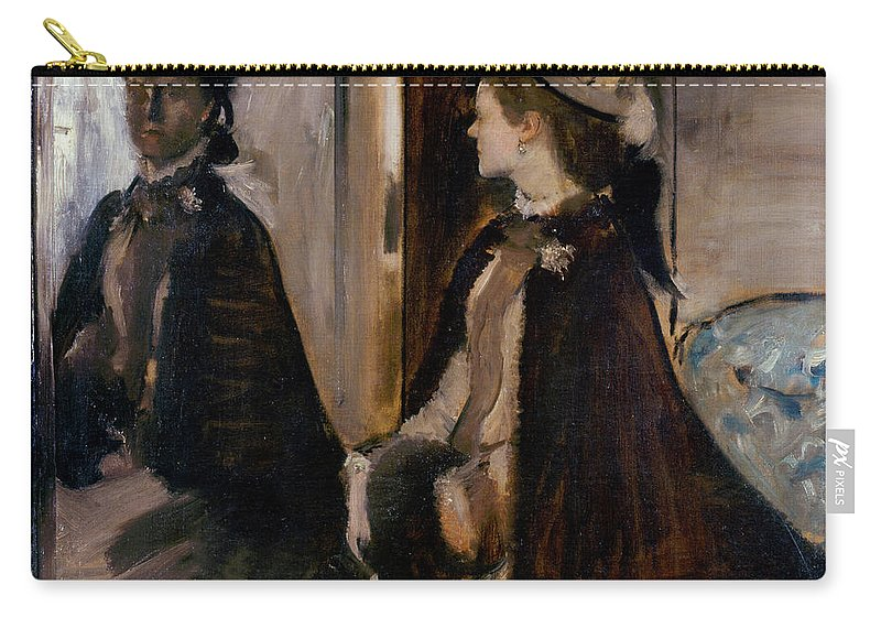 Edgar Degas Carry-all Pouch featuring the painting Mrs Jeantaud In The Mirror by Edgar Degas