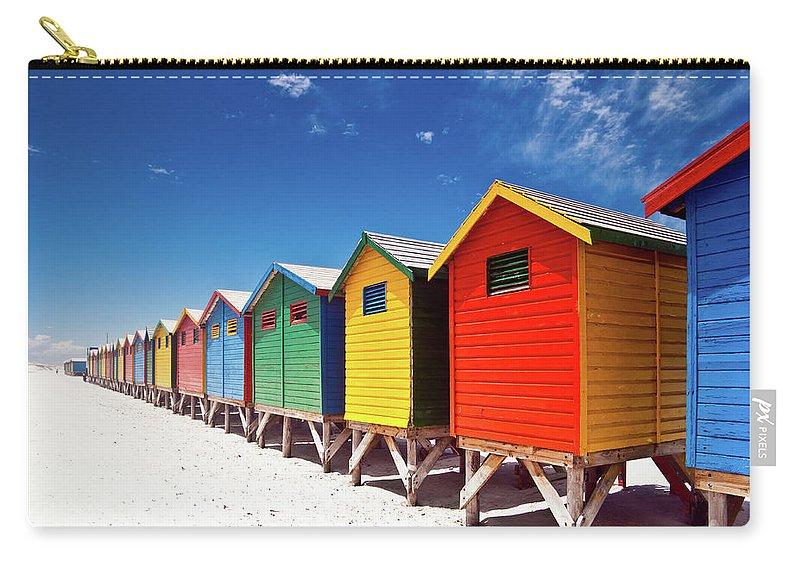 Beach Hut Carry-all Pouch featuring the photograph Muizenberg Beach Cape Town by Ferrantraite