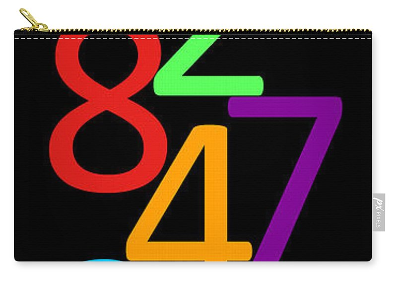 Numbers Carry-all Pouch featuring the digital art Multi-color Numbers by Jackie Farnsworth