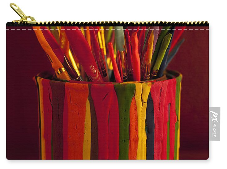 Art Carry-all Pouch featuring the photograph Multi Colored Paint Brushes by Jim Corwin