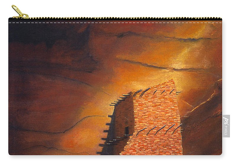Mummy Cave Ruins Carry-all Pouch featuring the painting Mummy Cave Ruins by Jerry McElroy