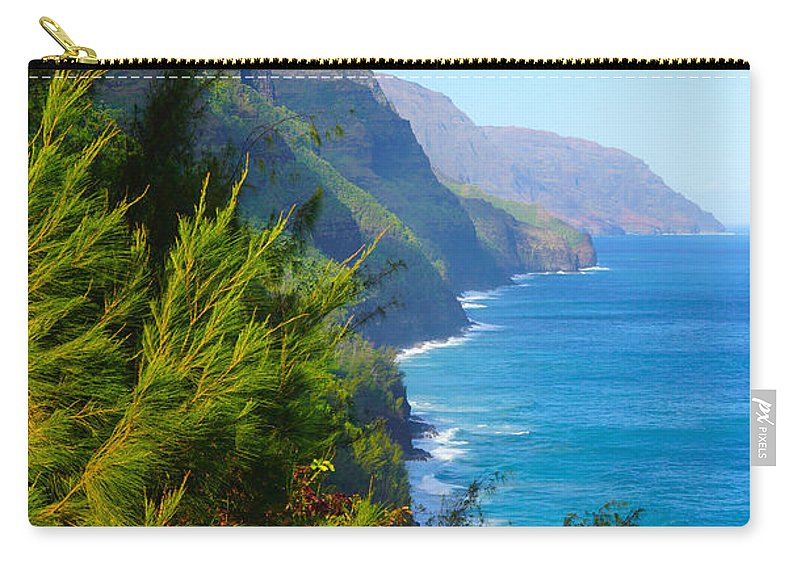 Na Pali Coast Carry-all Pouch featuring the photograph Na Pali Coast Kauai by Kevin Smith