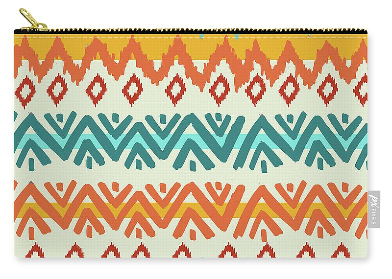 Navajo Carry-all Pouch featuring the digital art Navajo Mission Round by Nicholas Biscardi