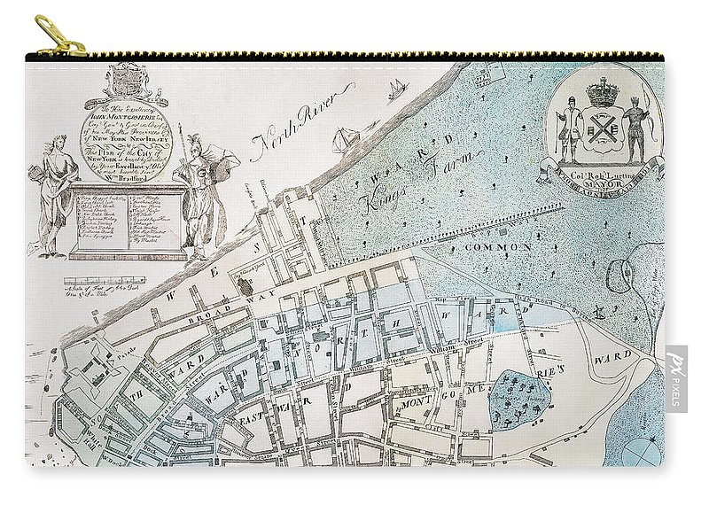 1728 Carry-all Pouch featuring the photograph New York City Map, 1728 by Granger