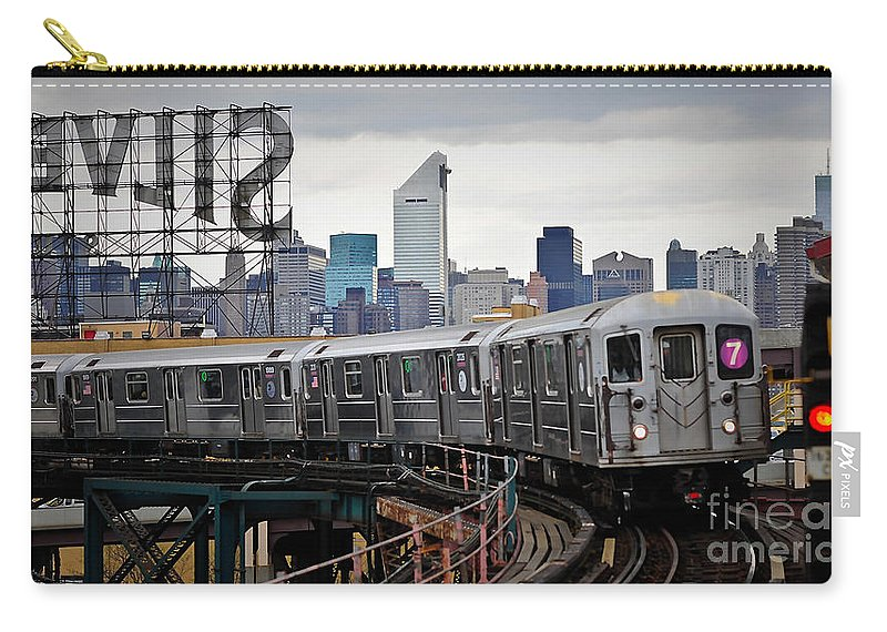 Old Train Car Carry-all Pouch featuring the mixed media New York Train by Marvin Blaine