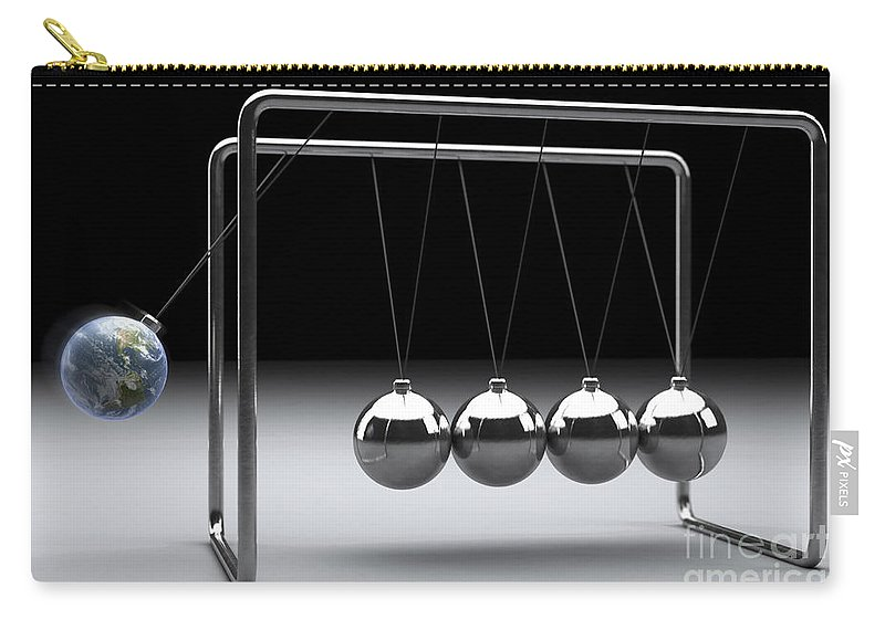 Gravitational Force Carry-all Pouch featuring the photograph Newtons Cradle by Science Picture Co