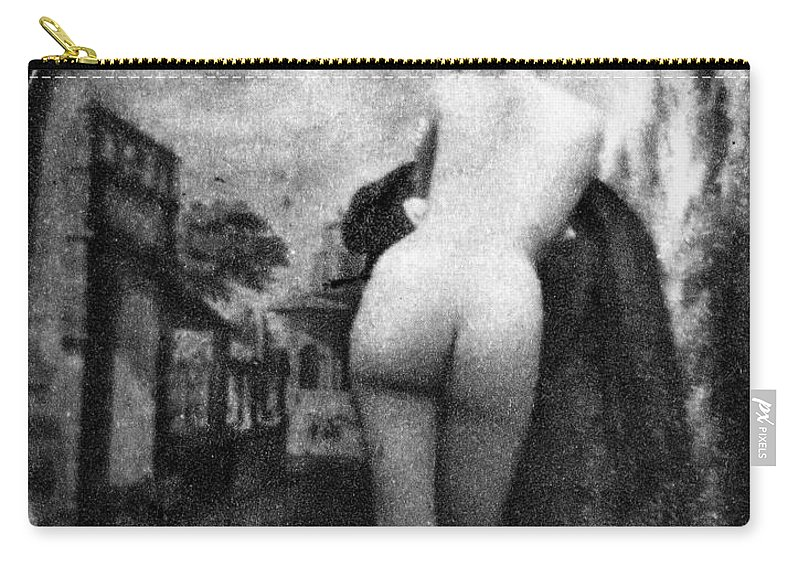 1843 Carry-all Pouch featuring the photograph Nude Posing: Rear View by Granger