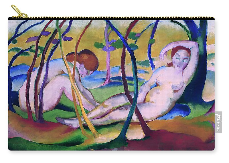 Painting Carry-all Pouch featuring the painting Nudes Under Trees by Mountain Dreams