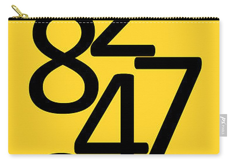 Numbers Carry-all Pouch featuring the digital art Numbers In Black And Yellow by Jackie Farnsworth
