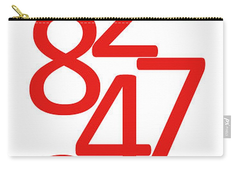 Numbers Carry-all Pouch featuring the digital art Numbers In Red And White by Jackie Farnsworth