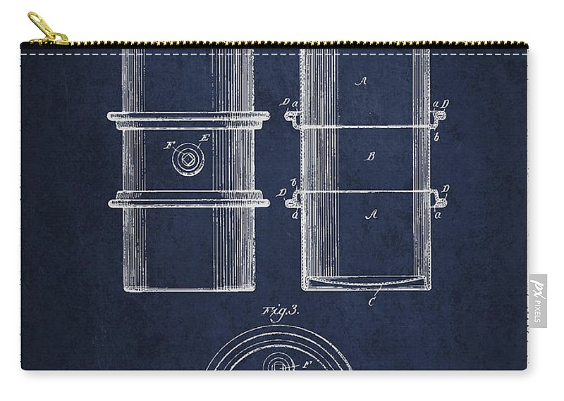 Oil Carry-all Pouch featuring the digital art Oil Drum Patent Drawing From 1905 by Aged Pixel