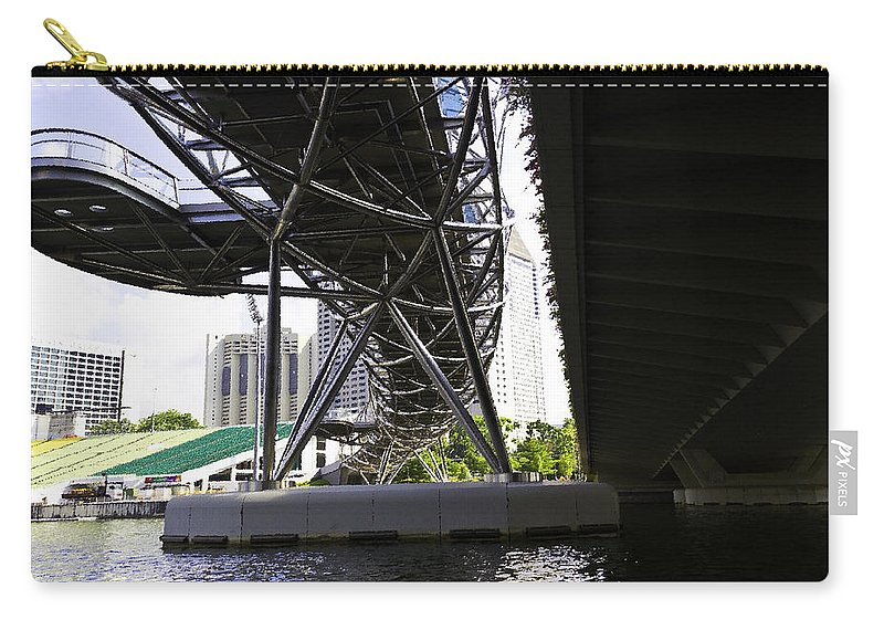 Action Carry-all Pouch featuring the digital art Oil Painting - View Under The Bayfront Bridge And Helix Bridge In Singapore by Ashish Agarwal