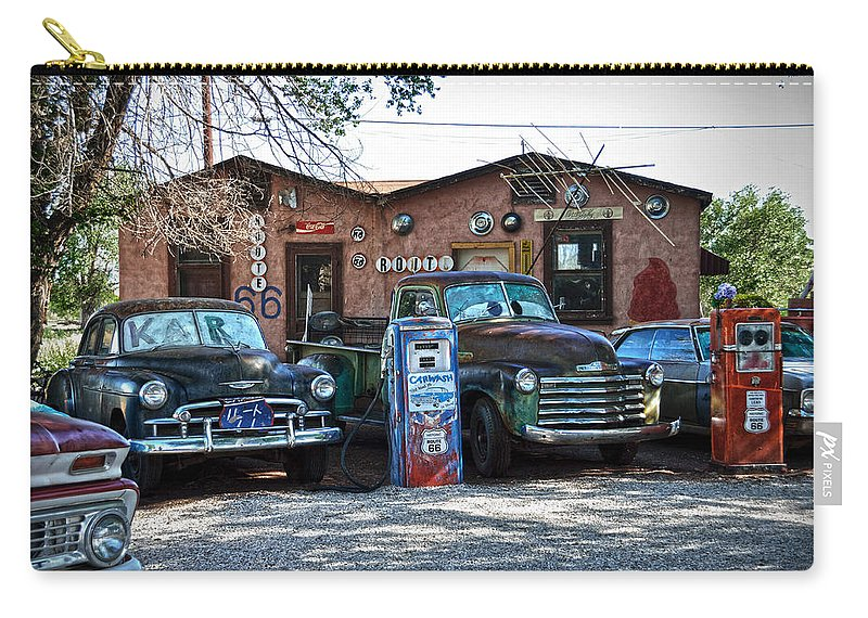 Car Carry-all Pouch featuring the photograph Old Cars On Route 66 by RicardMN Photography