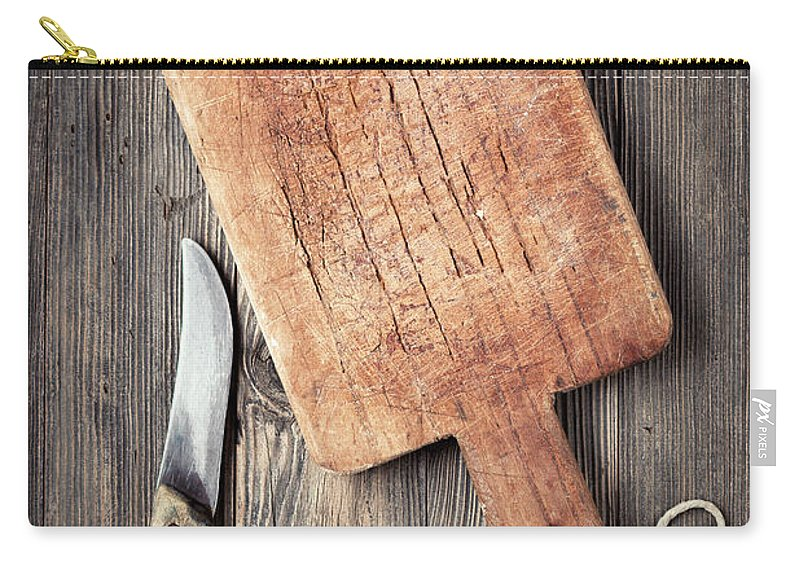 Empty Carry-all Pouch featuring the photograph Old Cutting Board And Knife by Barcin