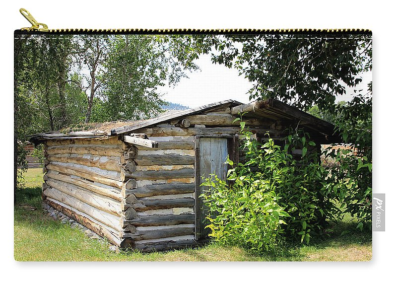 Cabin Carry-all Pouch featuring the photograph Old Log Homestead by Athena Mckinzie