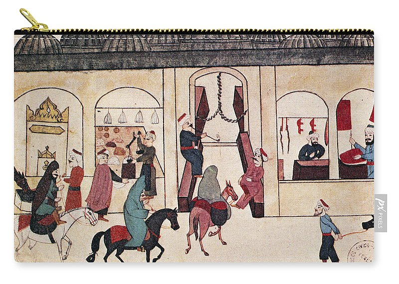 17th Century Carry-all Pouch featuring the painting Ottoman Bazaar by Granger