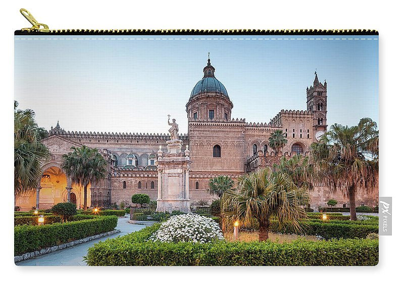 Saturated Color Carry-all Pouch featuring the photograph Palermo Cathedral At Dusk, Sicily Italy by Romaoslo
