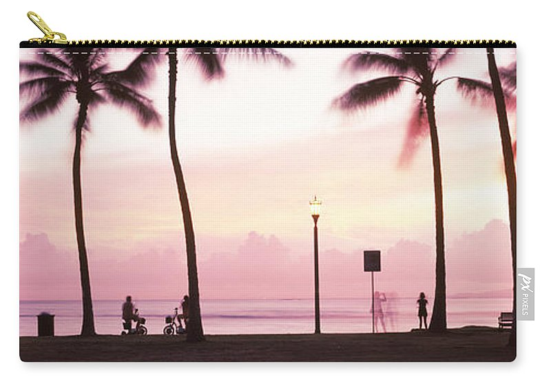 Photography Carry-all Pouch featuring the photograph Palm Trees On The Beach, Waikiki by Panoramic Images