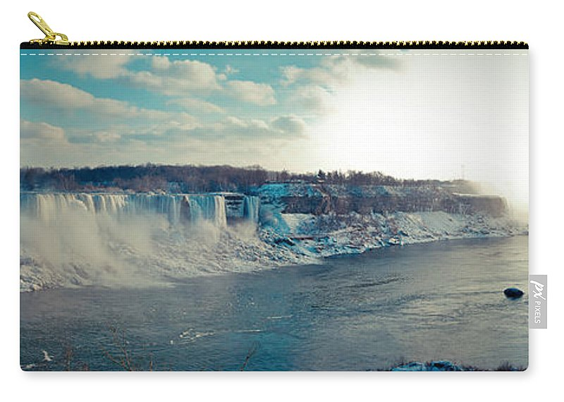 Panorama Carry-all Pouch featuring the photograph Panorama - Niagara Falls In Winter by Les Lorek