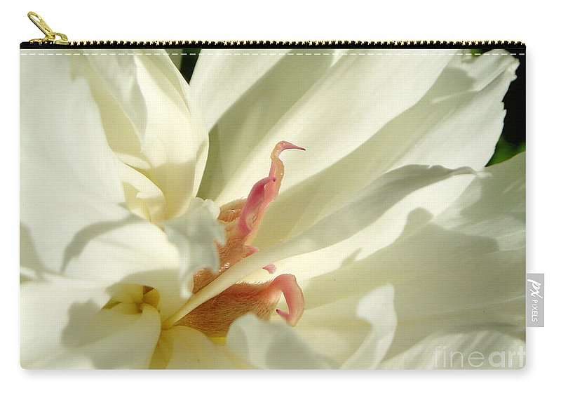 Peony Carry-all Pouch featuring the photograph Peaceful Sentinel Of The White Peony by Renee Croushore