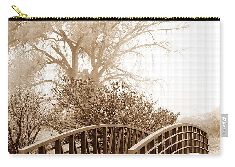 Fog Carry-all Pouch featuring the photograph Pedestrian Bridge by Marilyn Hunt