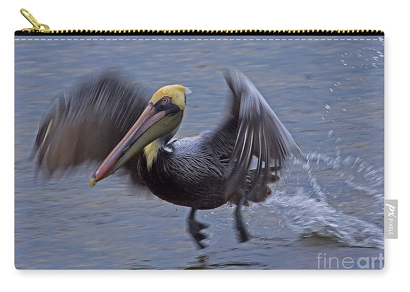 Elecanus Erythrorhynchos Carry-all Pouch featuring the photograph Pelican Takeoff by J L Woody Wooden