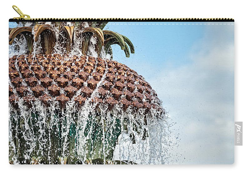 Architectural Detail Carry-all Pouch featuring the photograph Pineapple Fountain by Leslie Banks