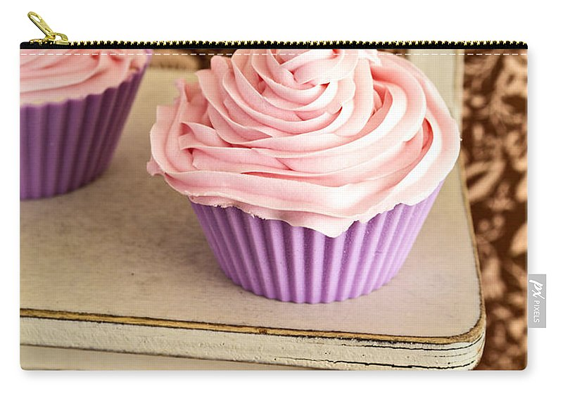 Cupcake Carry-all Pouch featuring the photograph Pink Cupcakes by Edward Fielding