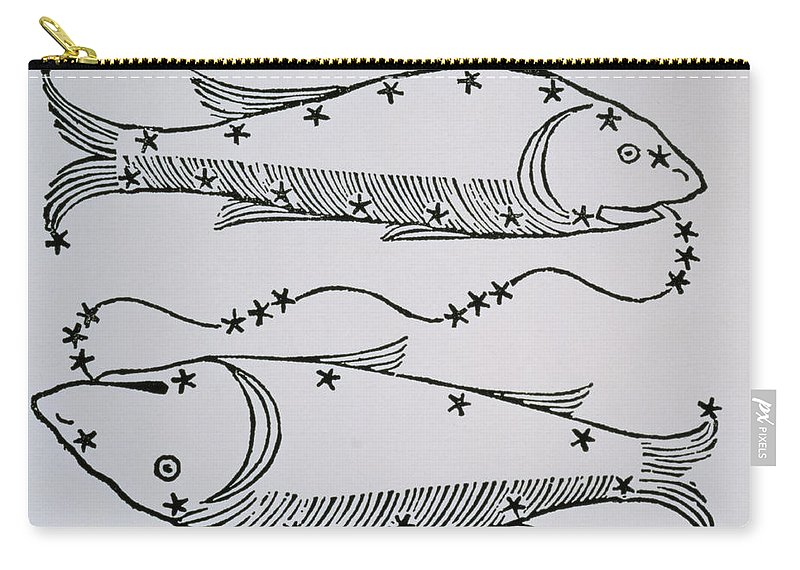 Pisces Carry-all Pouch featuring the drawing Pisces by Italian School