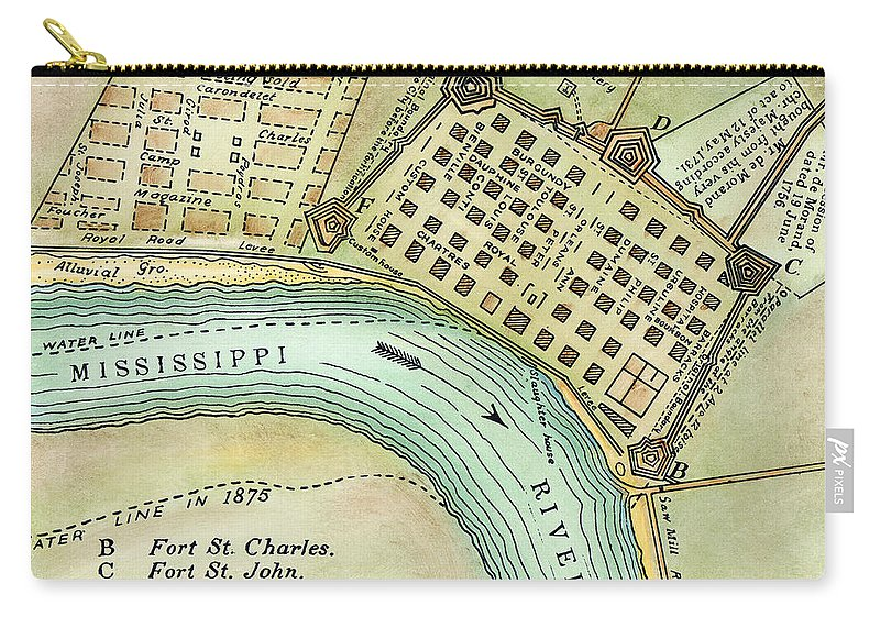 1798 Carry-all Pouch featuring the photograph Plan Of New Orleans, 1798 by Granger