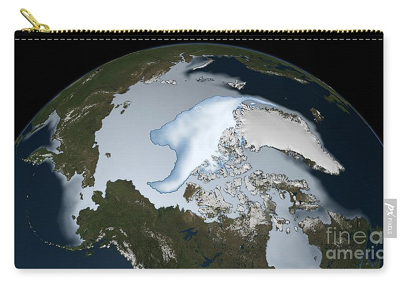 Horizontal Carry-all Pouch featuring the photograph Planet Earth Showing Sea Ice Coverage by Stocktrek Images