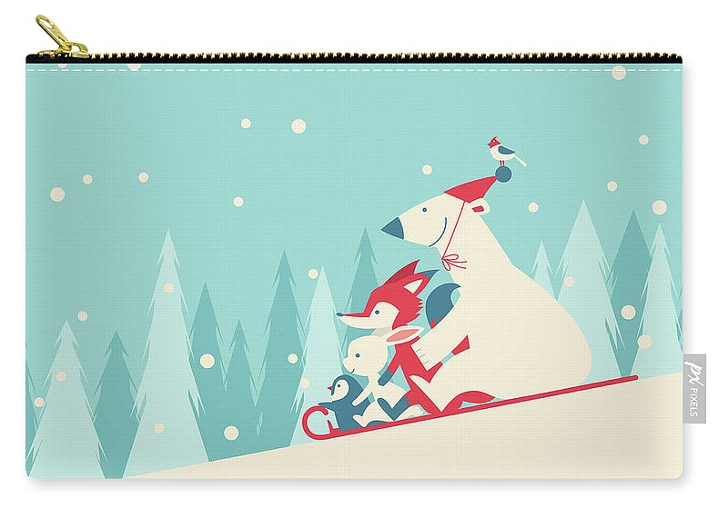 Snow Carry-all Pouch featuring the digital art Playing Snow Sled by Akindo