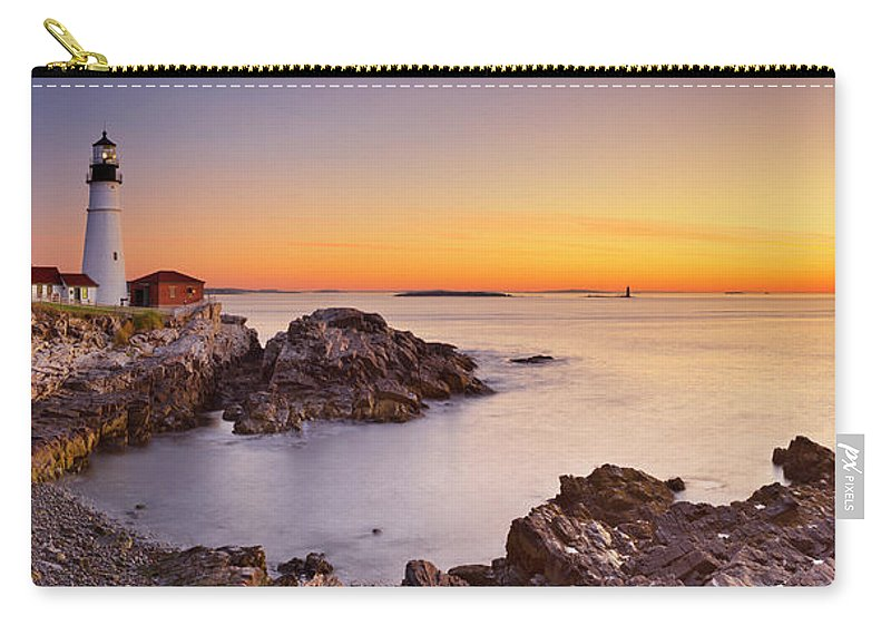 Water's Edge Carry-all Pouch featuring the photograph Portland Head Lighthouse, Maine, Usa At by Sara winter