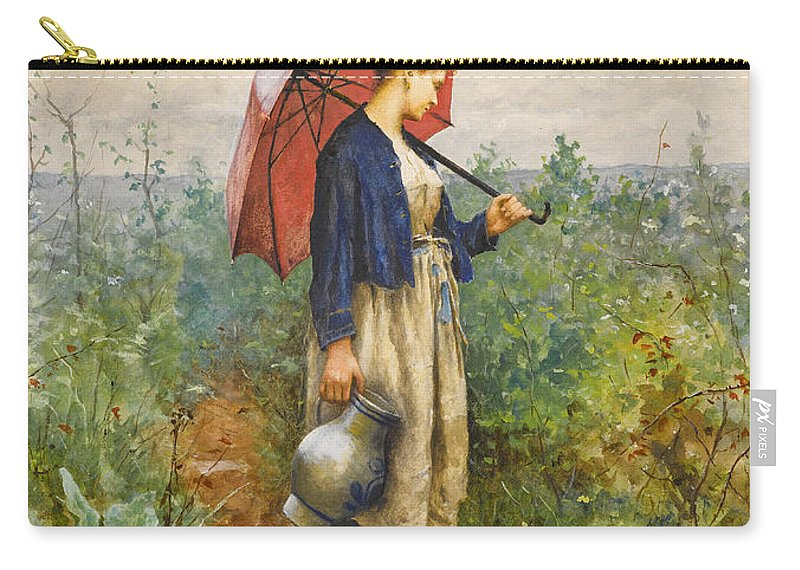Daniel Ridgway Knight Carry-all Pouch featuring the painting Portrait Of A Woman With Umbrella Gathering Water by Daniel Ridgway Knight