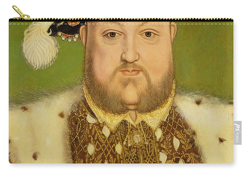 King Of England Carry-all Pouch featuring the painting Portrait Of Henry Viii by Hans Holbein the Younger