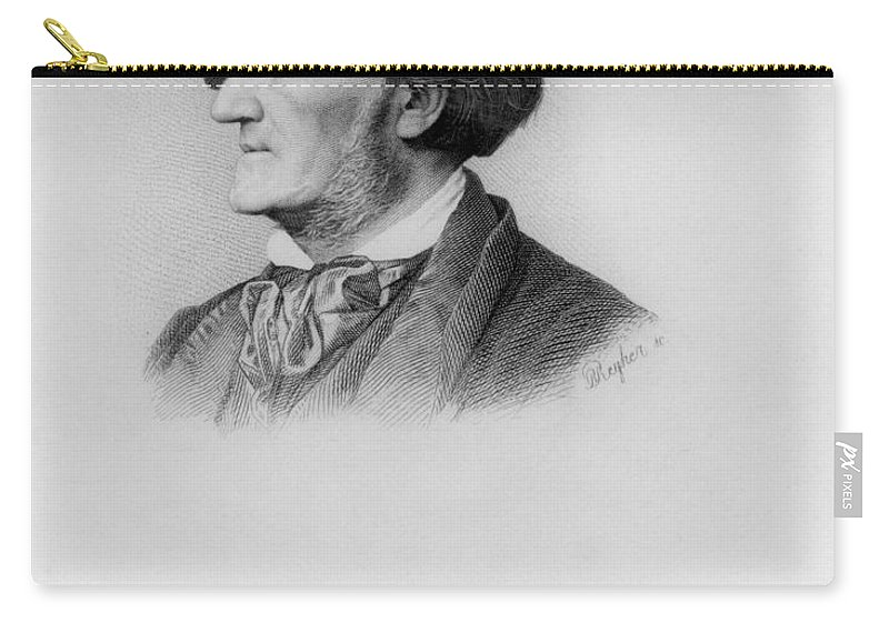 Male Carry-all Pouch featuring the photograph Portrait Of Richard Wagner German by German School