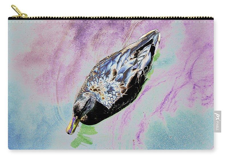 Psychedelic Carry-all Pouch featuring the photograph Psychedelic Mallard Duck 2 by Peter Lloyd