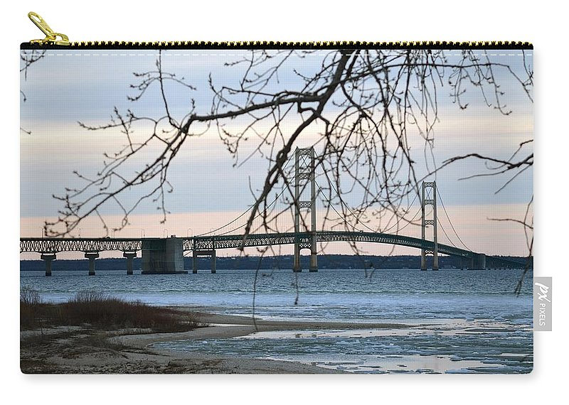 Mackinaw Bridge Carry-all Pouch featuring the photograph Pure Beauty by Linda Kerkau