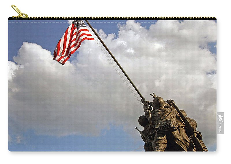Iwo Carry-all Pouch featuring the photograph Raising The American Flag by Cora Wandel