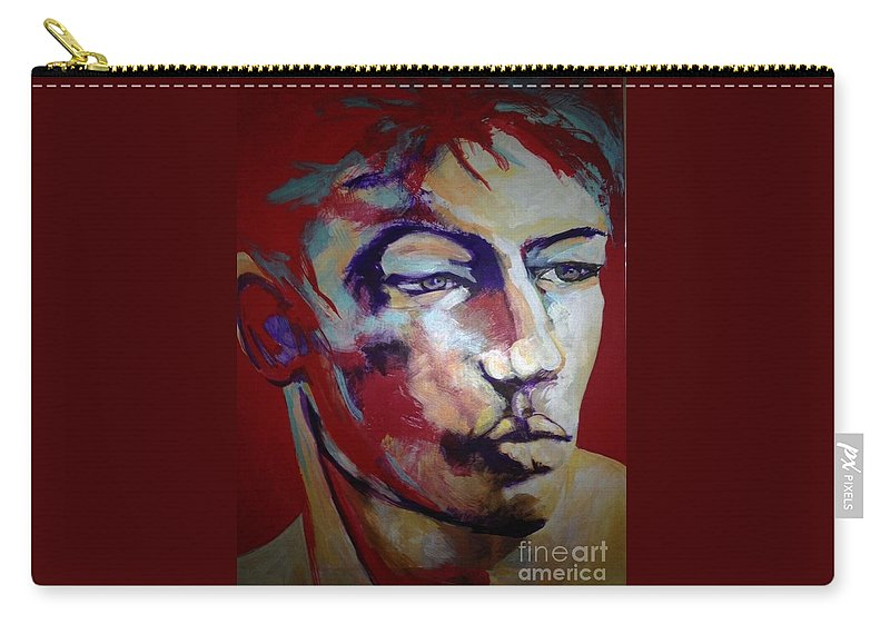 Man Carry-all Pouch featuring the painting Red Blooded American by Michael Clifford Shpack