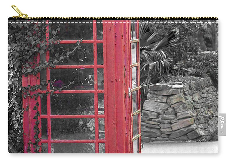 Architecture Carry-all Pouch featuring the photograph Red Phone Box by Brian Roscorla