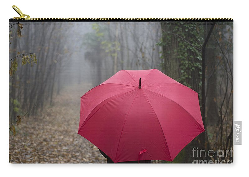 Woman Carry-all Pouch featuring the photograph Red Umbrella In The Forest by Mats Silvan