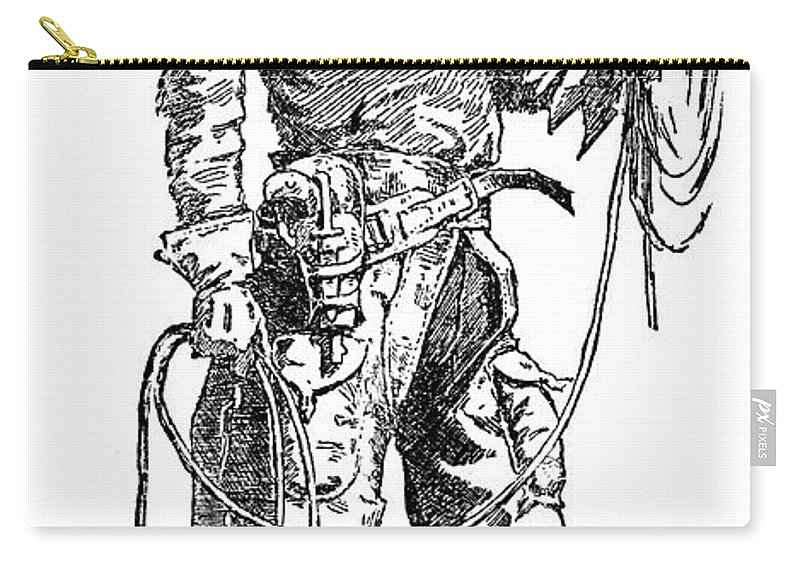 1887 Carry-all Pouch featuring the drawing Remington Cowboy, 1887 by Granger