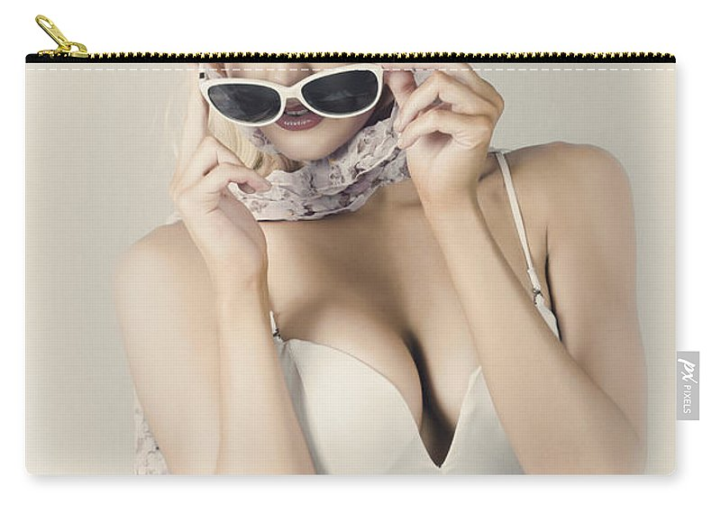 Accessory Carry-all Pouch featuring the photograph Retro Pin-up Girl In Classic Fashion Style by Jorgo Photography - Wall Art Gallery