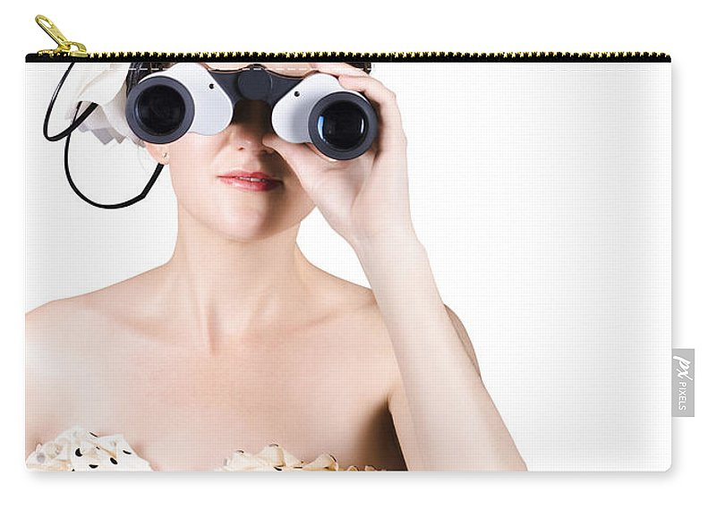 Binoculars Carry-all Pouch featuring the photograph Retro Woman Looking Through Binoculars by Jorgo Photography - Wall Art Gallery